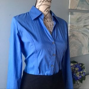 Express Blue Slim Cut Button Down Shirt
